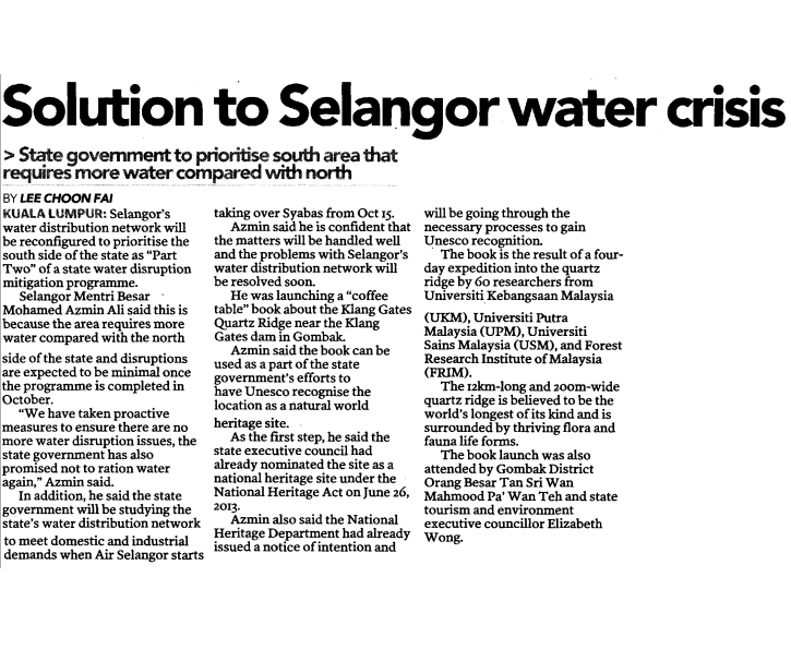 water crisis selangor essay Case study: the wet valley crisis (water crisis in klang valley) 10 brief summary klang valley is part of selangor, it has been water source for several city in wilayah persekutuan in malaysia.