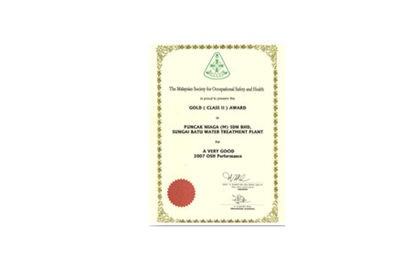 National Council For Occupational Safety and Health Gold Award